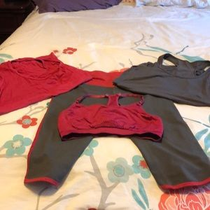 Fabletics capri with  bra and 2 tops